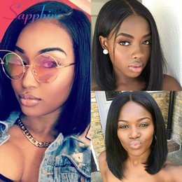 $enCountryForm.capitalKeyWord NZ - Unprocessed remy virgin human hair natural straight short popular bob natural color full front lace wig for black or white women