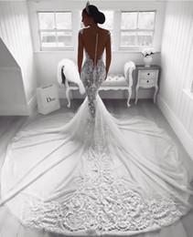 Mermaid Wedding Dresses Nigeria Australia - Backless Mermaid Wedding Dresses Lace Nigeria Country Wedding Dresses Outfits Fishtails Appliques Court Train Plus Size Bridal Gowns Cheap