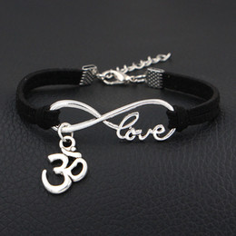 $enCountryForm.capitalKeyWord NZ - New Men Charm Jewelry Punk Black Braided Handmade Leather Suede Bracelet for Women Infinity Love 3D Shape Sign Fashion Bangles Vintage Gifts