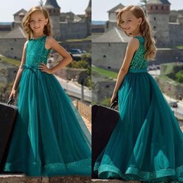 $enCountryForm.capitalKeyWord Australia - Green Pageant Dress For Girls Sequin Long Party Prom Ball Gowns With Bow Sash Special Occasion Dresses Sleeveless For Big Girls