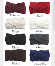 Wholesale Winter Women Bohemia Weaving Cross Headbands Handmade Hairbands New Solid Crochet Knit Woolen Headwear yoga hair bands