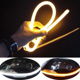 $enCountryForm.capitalKeyWord Australia - 2pcs Flexible 45cm 60cm Car Flowing Tube Strip DRL Daytime Running Light Auto LED Headlamp Turn Signal Angel Eyes Guide Lamps