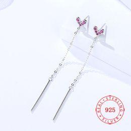 $enCountryForm.capitalKeyWord Australia - 925 Sterling Silver Rhodium Rose Gold Plated Pink Cubic Zircon Heart Chandelier Stud Earrings 2019 Women Fashion Jewelry Long Chain Earring