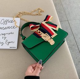 Bow Locks Australia - wholesale brand women handbag foreign style styling leather fashion chain bag gold lock stripe bow women shoulder bag elegant leather bag