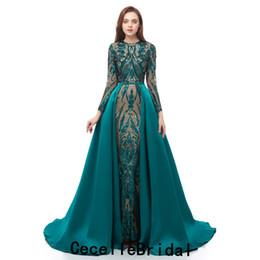 $enCountryForm.capitalKeyWord UK - Hot 2019 Dark Green Sequins Mermaid Evening Dress With Long Sleeves Detachable Train African Black Girls Evening Party Dress Real Photo