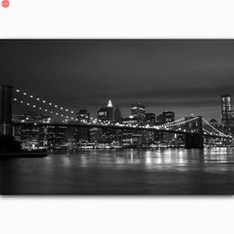 $enCountryForm.capitalKeyWord Australia - Diamond Painting Cross Stitch New York City Night Cityscape Skyline Black White diamond embroidery sale new year decor for home