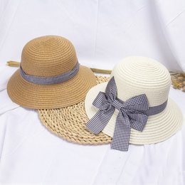 uv sun block Australia - New Arrival Summer Straw Hat For Kids Big Bow Sun hat For Girls foldable sun block UV protection panama beach bone