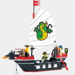 Pirate Block Set Australia - enlighten Enlighten Series Pirate Ship Dragon Boat Model Building Blocks Sets 211PCS Educational DIY Blocks Playmobil Toys