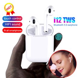 Apple I Touch Australia - i12 TWS i10 Bluetooth Earphone Wireless earphones Touch control Headset 3D Stereo Earbuds Charging Case i 10 i 12 tws PK i9S i7S