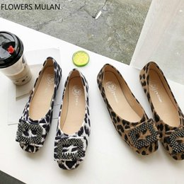 Ballet Flat Shoes Price Australia - Lower Price Leopard Suede Girl Ballet Flats Round Toe Soft Rubber Heels Cozy Shoes Woman Slip On Female Loafers Crystal Buckle