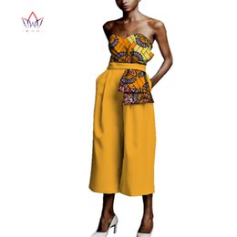 print jumpsuits for women NZ - Jumpsuit Africa Style Boot Cut Bodysuit for Women Dashiki Ankle Length Africa Print Romper Elegant Africa Clothing WY3951
