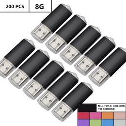 $enCountryForm.capitalKeyWord Australia - Black Bulk 200PCS 8GB USB 2.0 Flash Drive Rectangle Thumb Pen Drives Flash Memory Stick Storage for Computer Laptop Tablet Macbook U Disk