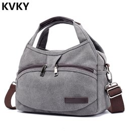 ladies handbags multi pockets Australia - Vintage Canvas Bag Women Handbags Multi-pocket Hobos Shoulder Bag Female Casual Tote Ladies Crossbody Bolsas Feminina