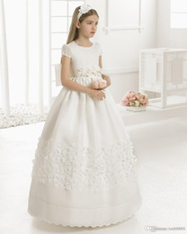 tulle ball gown for little girl 2021 - First Communion Dresses For Girls Scoop Backless Appliques Flower Girls Dress Bows Tulle Ball Gown Pageant Dresses For Little Girls