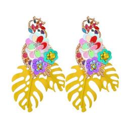 $enCountryForm.capitalKeyWord Australia - Fashion Bohemian Wedding Leaf and Flower Drop Earrings for Women Luxury Colorful Big Pendant Female Jewelry E2721