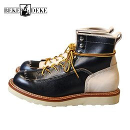 e1d56b392e1c New Japanese Retro Patchwork Genuine Leather Martin Boots Men Round Toe  Lace Up Motorcycle Ankle Boots Casual Men Leather Shoes