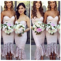 $enCountryForm.capitalKeyWord Australia - 2019 Customized Short Sweetheart Mermaid Bridesmaid Dresses Full Lace Ankle Length Appliques High Low Honor Of Maid Vestidos De Bridesmaids