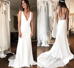 Wholesale open skirts resale online - Cheap Bohemian A line Wedding Dress Elegant Vintage Plus Size sexy v neck with D Floral Appliques Beach Boho chiffon Bridal Gown Open Back