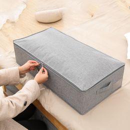 $enCountryForm.capitalKeyWord Australia - L Foldable Washable Linen underbed storage box for Clothing Blanket Pillow Underbed Bedding,Jumbo storage bag for clothes grey