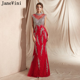 $enCountryForm.capitalKeyWord NZ - JaneVini 2019 New Arrival Elegant Red Mermaid Long Prom Dresses Luxury Heavy Beading Formal Evening Dress High Neck Lace Women Party Gowns