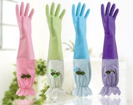 $enCountryForm.capitalKeyWord Australia - Dishwash gloves without velvet kitchen household cleaning PVC plastic leather durable laundry waterproof rubber gloves