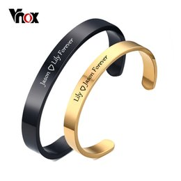 $enCountryForm.capitalKeyWord Australia - Free Engraving Personalized Couple Cuff Bracelets For Men Women Bangle Stainless Steel Classic Lover Diy Jewelry Gift