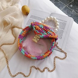 $enCountryForm.capitalKeyWord Australia - wholesale women handbag summer new wool hand-woven bag sweet girl transparent Pearl chain bag summer Candy-colored hand-woven crochet beach