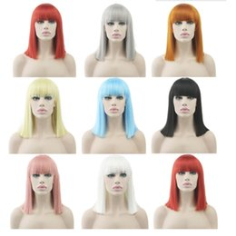 BoBo hair wigs online shopping - Multiple Colors Available Fashion Short Straight Hair Wig High Temperature Silk Bobo Head Role Playing Wig