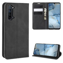 business card holder magnetic Australia - For OPPO Reno3 5G Retro-skin Business Magnetic Suction Leather Case with Holder & Card Slots & Wallet