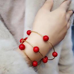 Venta al por mayor de Nueva moda este año multi-anillo estiramiento pulsera de abalorios hechos a mano mujer rojo de múltiples capas pulsera pulsera al por mayor