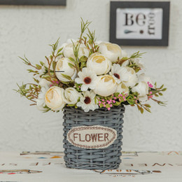 white green rose wedding bouquets Australia - Artificial Flower Silk Rose Bridal Hand Bouquet Retro Countryside Peony Simulation Flower Fake Flowers For Wedding Decor G2840