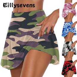 plus size yoga pants wholesale UK - Women Summer Yoga Shorts Fashion Double-Layer Sports Camouflage Yoga Sports Leggings Fitness Shorts Skirt Plus Size S-3XL