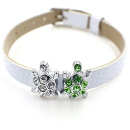 8mm sliding charms online shopping - 20pcs mm crystal turtle Slide DIY Charm for mm wristband belts bracelet