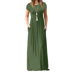 5066340ca6a44 Summer Maxi Long Dress Women Femme Boho Long Dresses Plus Size Casual  Pockets New Short Sleeve O-neck Solid Dress S-2xl Gv598 Y190415