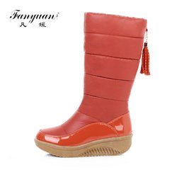 woman shoes heels 44 UK - Fanyuan 2018 Fashion Women Knee High Snow Boots Slip on Wedges Heel Round Toe Shoes Winter Women Snow Tassel Boots Size 35-44