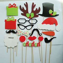 christmas photo props NZ - DLM2 New Arrive 17 pcs lot DIY Photo Booth Props Mustache Lip Hat Antler Gift Stick Christmas Party H092 50set
