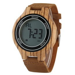 Unique Watches For Men Australia - Unique Digital LED Display Wood Watchs for Male Casual Zebra Wood Electronic Watch for Men Premium Leather Strap Wooden Wristwatch