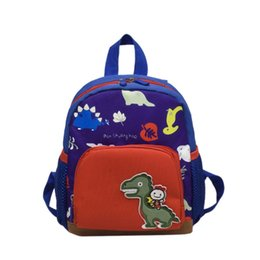 blue toddler UK - Cute Baby casual shoulder teenager fashion Boy Girl Cartoon Dinosaur Backpacks Toddler Canvas Preschool Anti-lost Bags