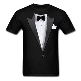 Wholesale tuxedo tee shirts for sale – custom 2017 fashion hot sell Tuxedo Costume Bow Tie Men s T Shirt cotton O Neck T Shirt Casual short tops tee