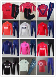 TracksuiTs Thailand online shopping - Top quality Atletico soccer training suit set Madrid JACKET SUIT GRIEZMANN SAUL DIEGO COSTA Thailand quality tracksuit kit