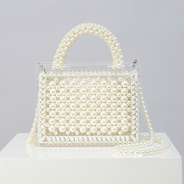 $enCountryForm.capitalKeyWord Australia - Pearl Knitting Acrylic Handbags Brand Designer Women Summer Clear Beach Bag Vintage Woven Clutch Bags Lady Ladies Luxury Handbag Designer