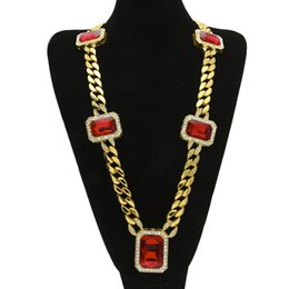 mother pearl supplies Canada - Luxury Jewelry European and American Hip Hop Smooth Cuban Chain 5 Large Gem Necklace Cross-Border Supply Hot Mens Gem Necklace