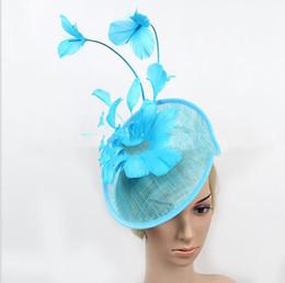 $enCountryForm.capitalKeyWord Australia - Ma Yarn Bride Headwear Hair Ornament Banquet Top hat Hair Ornament Feather Hoop Party Walking Show Headwear