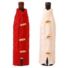 Wholesale New Christmas Red Wine Bottle Cover Knitting Sweater Crafts Wine Bottle Coat Dinner Party Table Decor