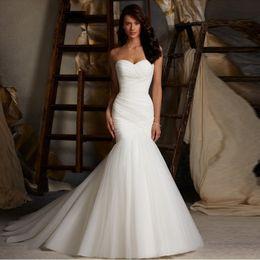 $enCountryForm.capitalKeyWord Australia - Lace 2019 New Arrival Ruched Tulle Mermaid Wedding Dress Lace Up White Ivory Marry Dresses Bridal Dresses Hot Sale vestido de festa curto