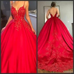 Red Dress V Neck Straps Australia - Red Lace Prom Dresses Spaghetti Strap V Neck Lace Appliques Ball Gown Evening Dresses Sweep Train Sexy Backless Cocktail Party Gowns