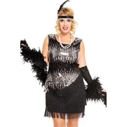 $enCountryForm.capitalKeyWord Australia - Bling Black Silver Ombre Sequin Dress Roaring 1920s Flapper Dress Costume Asymmetrical Tassel Party Swing Dress
