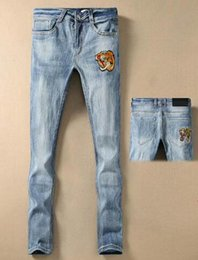 Cotton Express Australia - Express Tiger Head Embroidery Men Business Jeans Milano Fashion Male Casual Denim Trousers Cotton Winter Classic Jean Pants