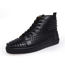 leather high Canada - Top Designer Sneakers Red Bottom shoe High Cut Suede spike Luxury Shoes For Men and Women Shoes Party Wedding crystal Leather Sneakers