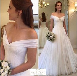 $enCountryForm.capitalKeyWord Australia - Off the Shoulder Simple Tulle Vestido De Noiva Robe De Wedding Dress Married White Wedding Dress Professional Custom